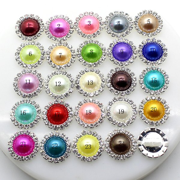 New 30pcs/set 16mm Colorful Round Pearl Buttons Flatback Brooch Crystal for Wedding Bouquet Child Hair Ribbon Decorative