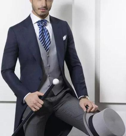 Custom Made Classic Design Navy Tailcoat Groom Tuxedos best men suits Men's Wedding Dress Prom Clothing Men Suits (jacket+pants+vest)