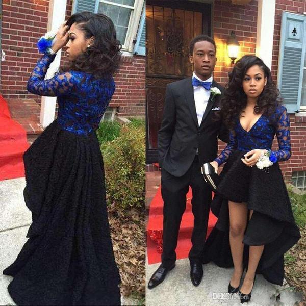 2018 Long Sleeves Lace Prom Dresses Sexy Deep V Neck Royal Blue Black Hi Lo Cocktail Dresses 2K18 African Girls Short Dresses BA4989