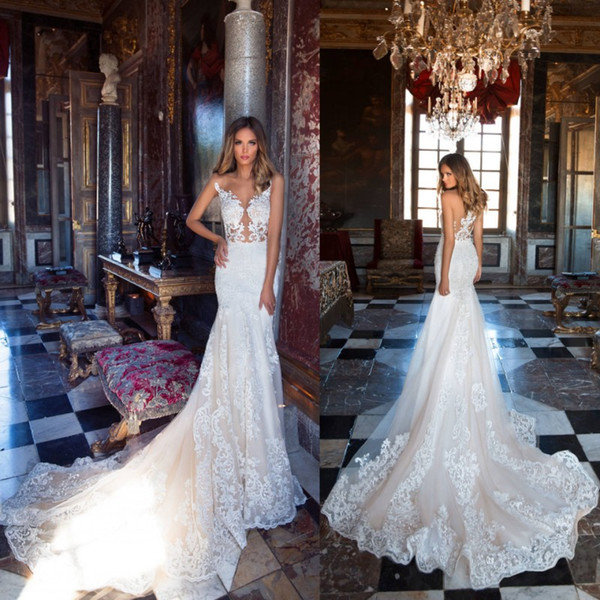 best selling Newest Lace Mermaid Wedding Dresses Sheer Appliques Backless Sweep Train Bridal Gowns Formal Robe de soriee Custom Made