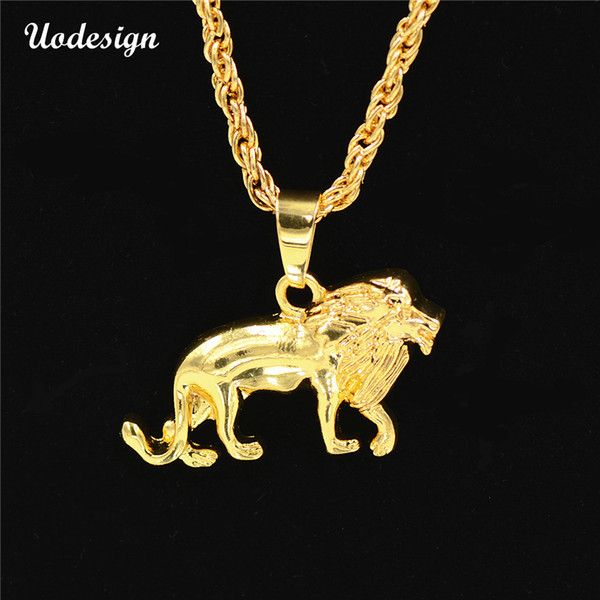 Uodesign Hip Hop Big Lion Pendant & Necklace Animal King Vintage Gold Color Hiphop Chain For Men/Women Jewelry Gift