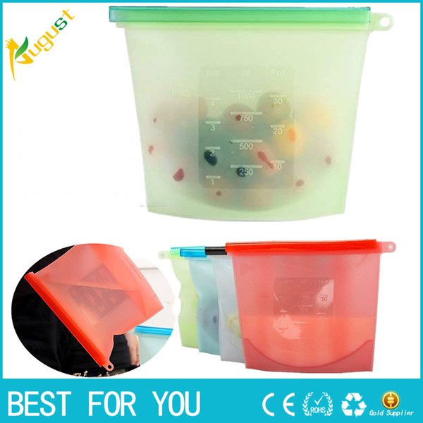 Reusable Silicone Vacuum Food Fresh Bags Wraps Fridge Food Storage Containers Refrigerator Bag Kitchen Colored Ziplock Bags