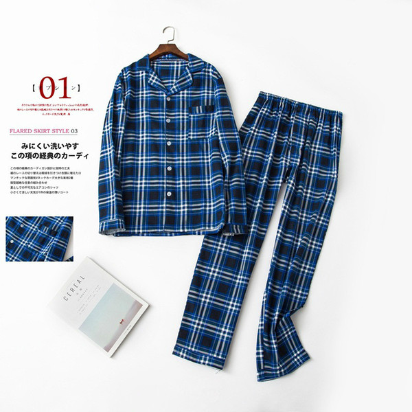 huge sale free delivery great variety models 2019 Men'S Pajamas Autumn Winter Long Sleeve Sleepwear Cotton Blue Plaid  Pyjamas Men Lounge Pajama Sets Button Male Sleepshirt+Pants From Hiem,  $80.11 ...