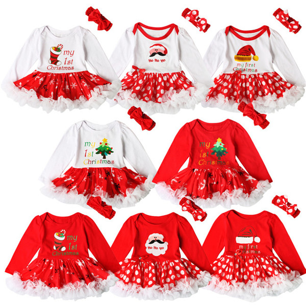 e911dbabcb58 Baby girls Christmas printing Red dress 2ps sets crocheted bow headband+Xmas  pattern romper Infants first christmas gifts cute outfits A08