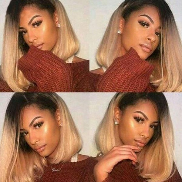 Glueless Full Lace Human Hair Wig Short Bob Remy Hair Wig ombre Two Tone Color with Side Part Baby Hair Pre-Plucked Hairline