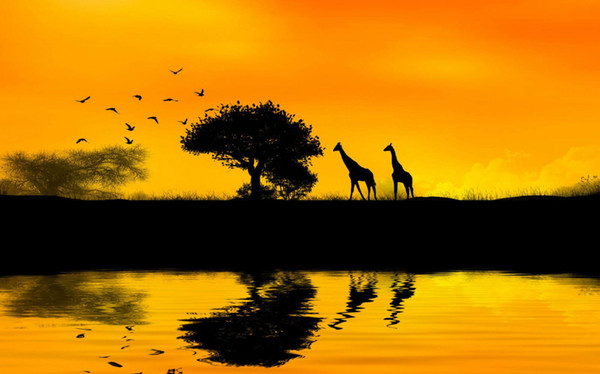 Africa Giraffes Walking to Feed on Trees Home Decor Art Silk Poster 24x36inch 24x43inch