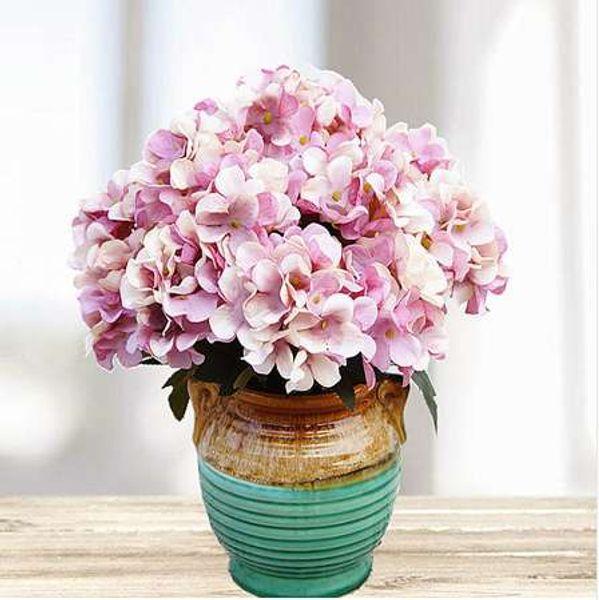 6 cabeças / 1 flor de plástico Artificial de Natal decoração de casa acessórios de casamento de seda Hortênsia pintura diy flor falsa