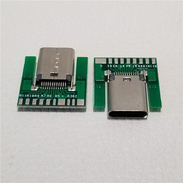 Commercio all'ingrosso 100 pz / lotto USB 3.1 Tipo C Femmina Plug C-chip SMT Connettore con PCB Solder Socket Connector Adapter