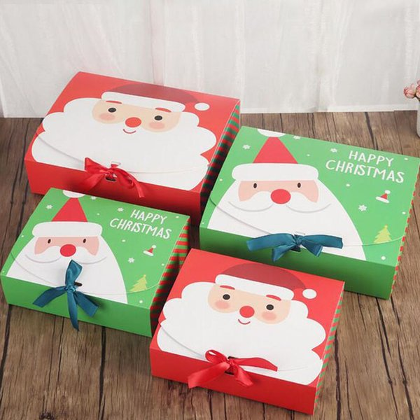 Unique Christmas Eve Big Gift Box Santa & Fairy Design Papercard Kraft Present Party Favour Activity Box Red Green QW8801