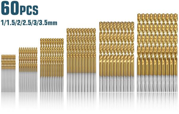 60 unids / set 1 mm-3.5 mm recubierto de titanio brocas de acero de alta velocidad brocas helicoidales manuales broca de mango recto herramienta de reparación de piezas