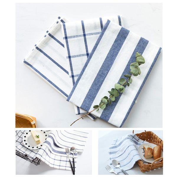Venda quente clássico azul algodão listrado toalha de chá guardanapos de mesa Jantar pano toalha retangular tigela placemat tiro fundo