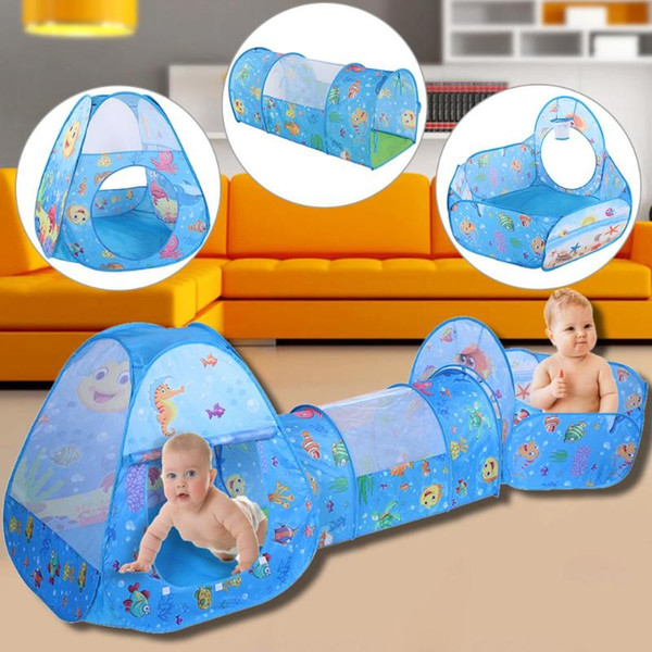 3Pcs Baby Toy Tent for Children Foldable Play House Kids Game bolina Tunnel Tent Indoor/Outdoor Fun Ocean Ball Pool Outdoor tipi free shippi