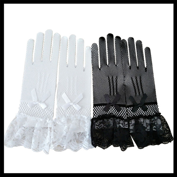 Sexy Lace Short Full Gloves Evening Party Pageant Gloves Black White High Elasticity Knit Mesh Mittens