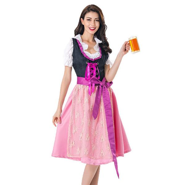 df2d55b9049 2019 Women Bavarian German Trachten Costume Oktoberfest Beer Festival Pink  Dress Dirndl Fancy Ribbon Lace Up Folk Outfit For Ladies Sexy From Missher,  ...