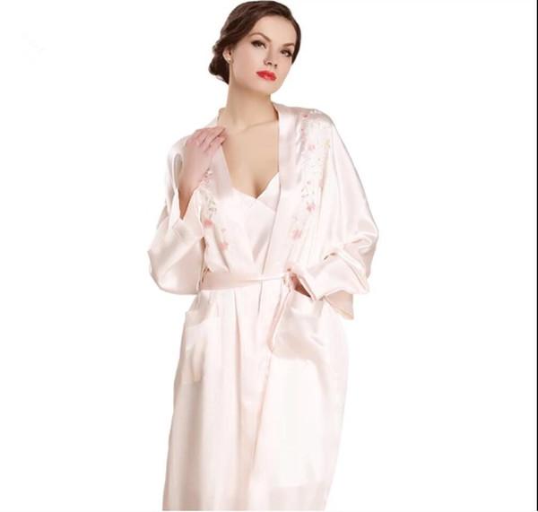 Women's 100% Long Silk Robe set  Bathrobe Kimono Robes Gorgeous Lounge wear 2PC Sets Sleepwear pure silk Robe Sets 2019