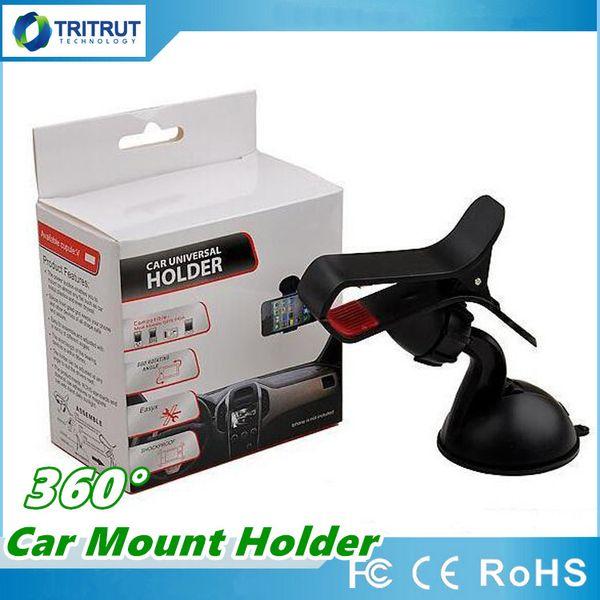 Universal Cellphone 360 degree Car Mount Holder Windshield Desktop Bracket Holders For Cell Phone Smartphone Free shipping DHL MQ30