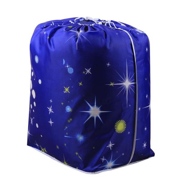Dark Starry azul cielo edredón bolsa de almacenamiento grande con cordón Closet Closet Clothes Organizer Box Pouches Winter manta Holder