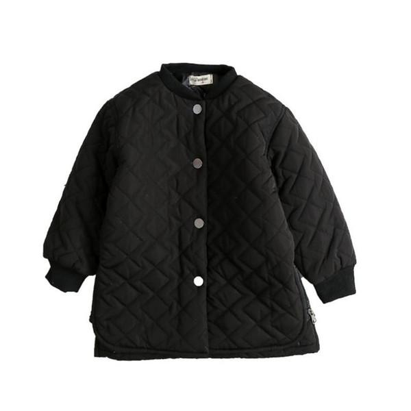Sonbahar Kış Kore Tarzı Çocuk Pamuk Yastıklı Ceket Moda Kız Erkek Siyah Tek göğüslü Uzun Kalın Dış Giyim