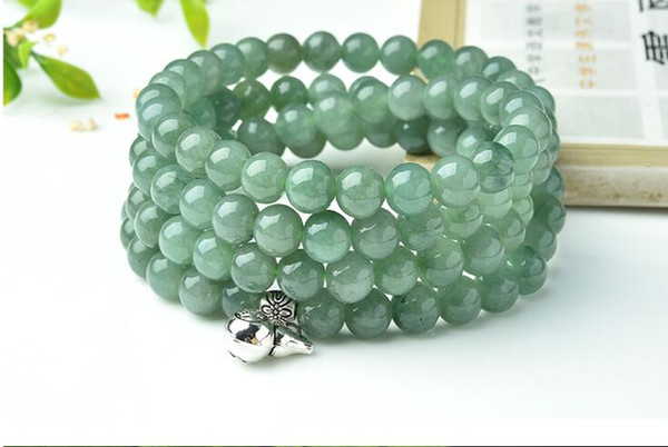 Oil green jade beads bracelet original personality bracelet necklace male and female models with money bag hulu