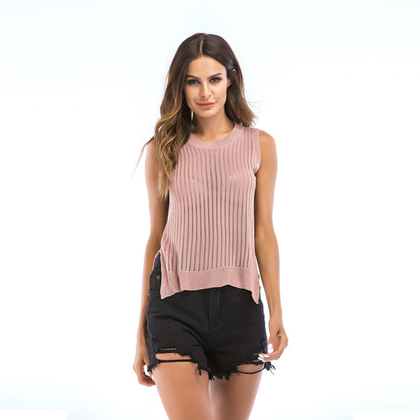 Womens Sexy Vest Top, Girls Sleeveless Hollow Out Vest Crop U Neck Knitted Tank Tops T-Shirt Blouse
