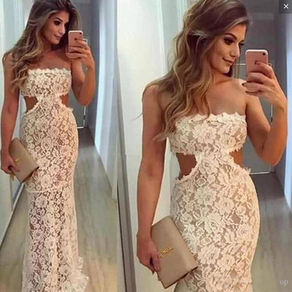 Full Lace 2018 Mermaid Prom Dresses Strapless Sexy Cut Waist Sheath Illusion Floor Length Formal Party Dress Cheap Customized evening dress