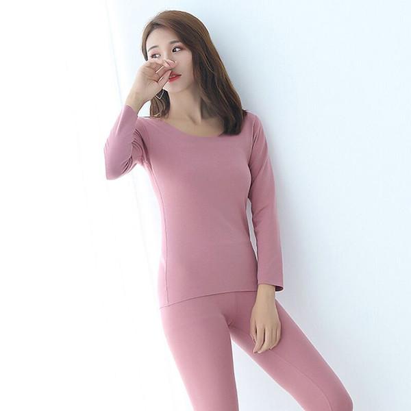 women thermal underwear set heating fiber cotton plus velvet thickening long-sleeved winter warm long johns women for winter