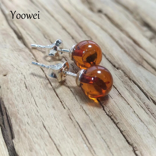 Yoowei Supplier Natural Amber Earrings for Gift Round 7mm Chic Stud Earring OL Style Women Trendy Baltic Amber Jewelry Wholesale S18101307