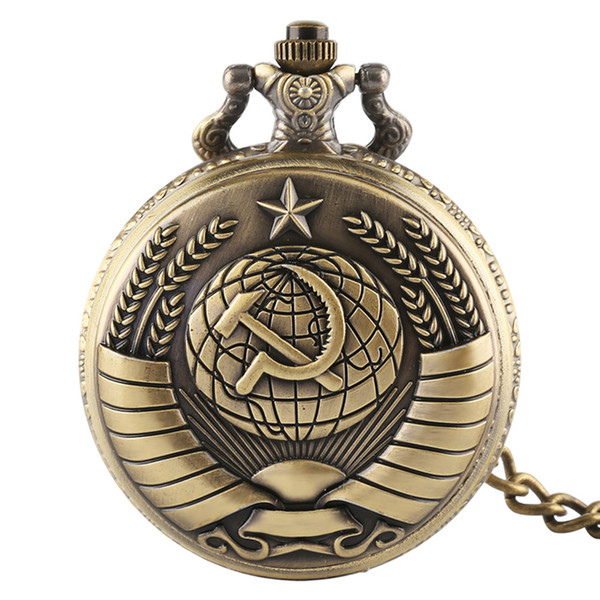 Antique Russia Soviet Sickle Quartz Pocket Watch Vintage hammer Style Steampunk Necklace Pendant for Gift reloj mujer