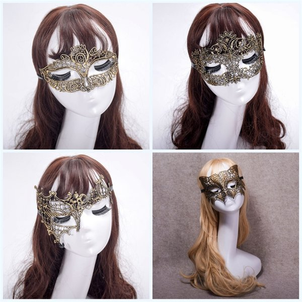 Halbes Gesicht Halloween Party Maskerade Fuchs Fancy Elegant Schöne Masken Dance Fashion Farbe Überzug Gold Spitze Maske 3 2yk jj