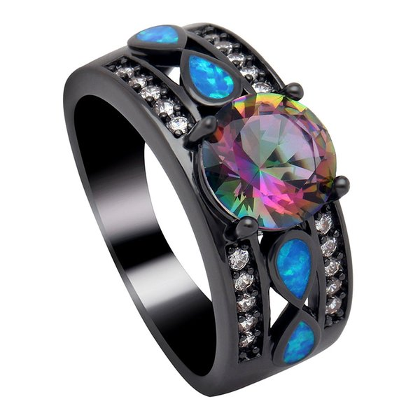 Hainon Luxury Opal Fire Rings Jewelry Women Wedding Rainbow Opal Rings Colorful Blue Pink CZ Black Gold Filled Engagement Ring