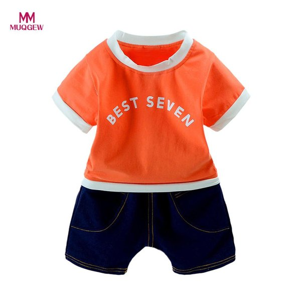2Pcs Infant Baby Boys Girls Letter T-Shirt Tops+Denim Shorts Clothes Cartoon Kids Set Outfits Best Selling