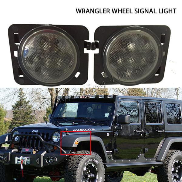pair LED wheel signal light warning fender flare Lamp for Jeep Wrang JK 07-15 turn signal front fender rear wheel amber light