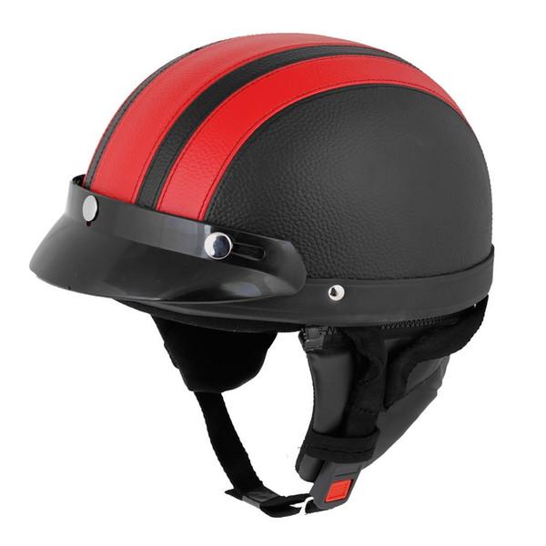 TOYL Red Black Faux Leather Coated Motorcycle Cap Half Helmet Scoop Visor