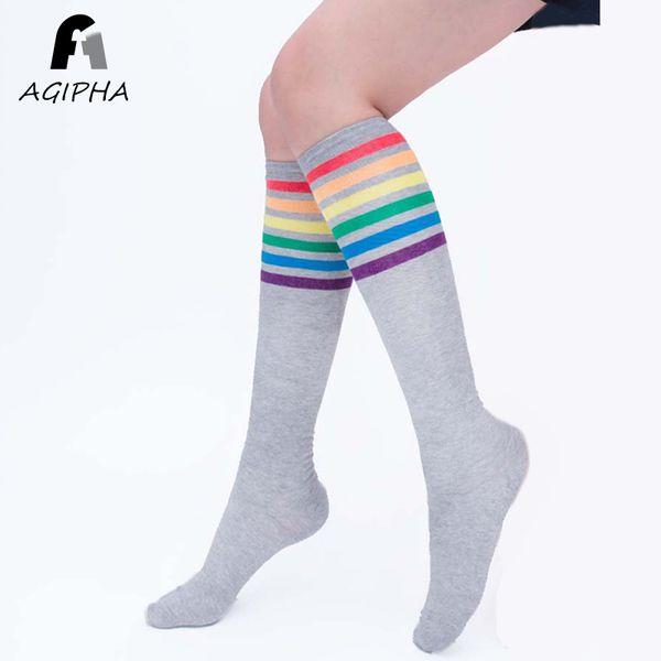 # SS rainbow coloured standard striped over-the-knee socks