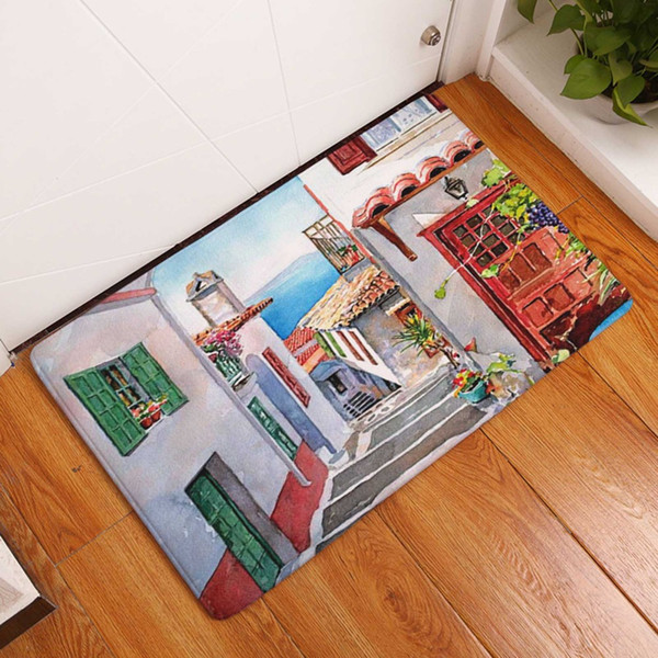 Seaside Town Decorative Entrance Door Mats Exotic Floral Scenery Home  Kitchen Rugs Luxury Living Room Car Hallway Carpet Decor Outdoor Chair Pads  ...