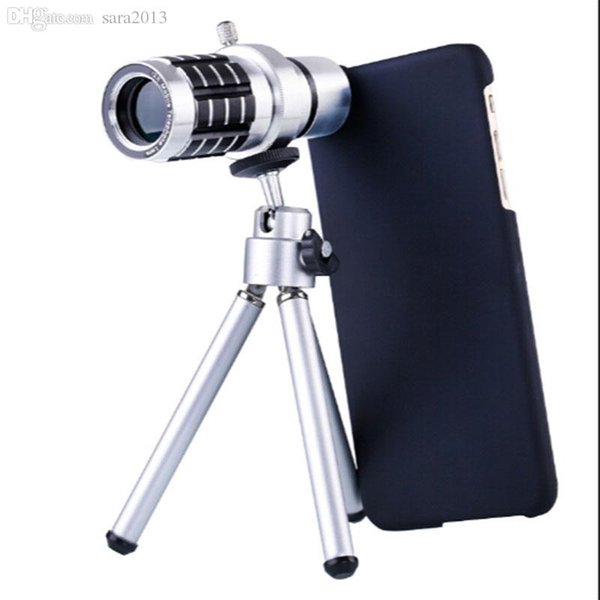 Wholesale-for iphone 6 Camera Lens 12X optical Telescope Zoom Telephoto with Tripod for iPhone 6 with case