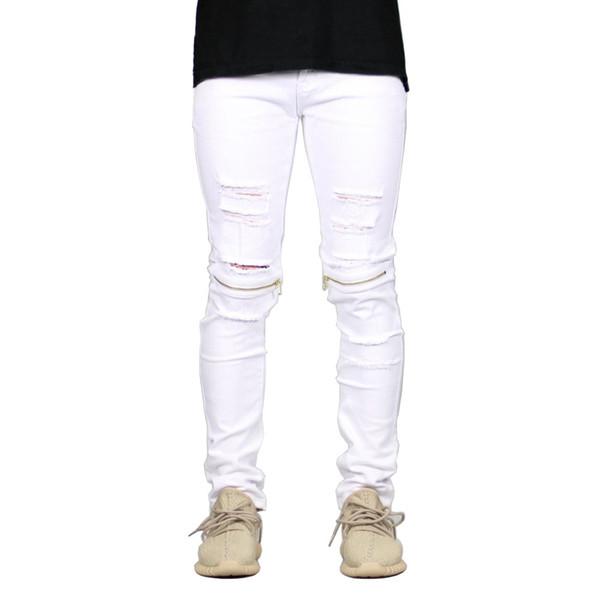 Siyah Moda Kot Erkekler için Düz Slim Fit Erkekler Denim Jeans Beyaz Cepler Homme Artı Boyutu