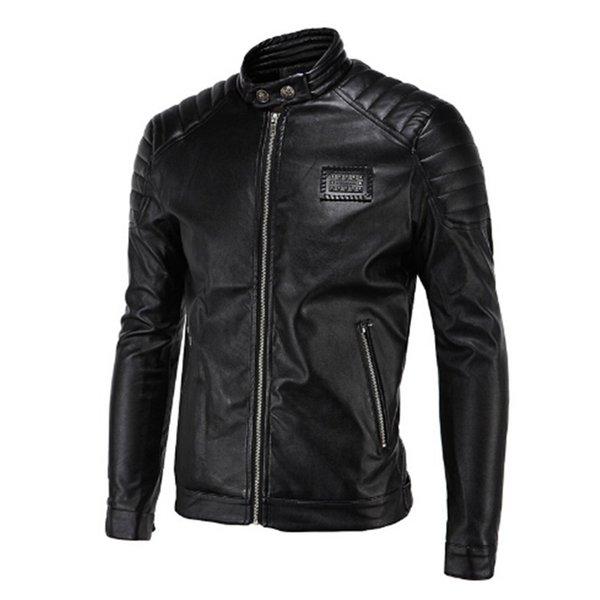 top popular Wholesale- 2017 Spring Leather Jackets Men Black Biker Jackets Men Quilting Shoulder Rivets Badge Patch Vintage Motorcycle Jackets 2019