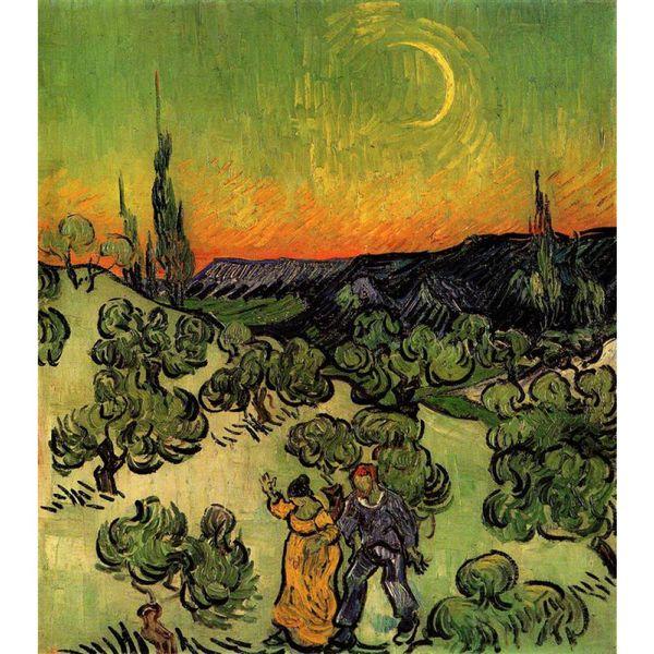 Arte moderna Paisagem com Casal Andando e Crescent Moon Vincent Van Gogh pinturas a óleo da lona pintados à mão decoração da parede