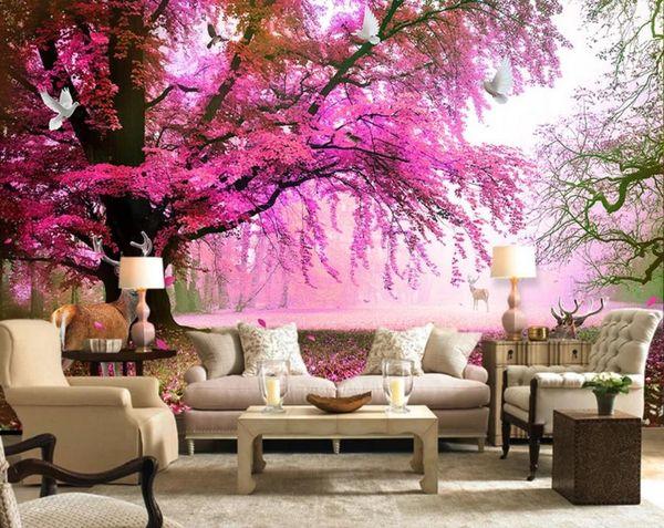Stampa foto Carta da parati Albero in fiore di ciliegio Carta da parati 3D Murales Wallpaper Per soggiorno Camera da letto Interior Decor Wallpaper camera delle ragazze