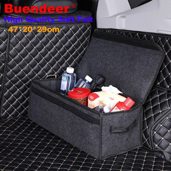 Upgrade Car Trunk Organizer Grey Soft Felt Rear Trunk Storage Box large Stowing Tidying Foldable Bag Holder Package