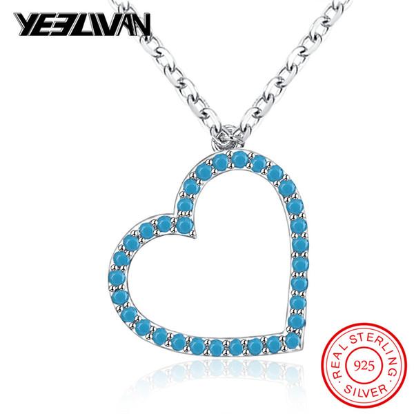 Boho pedra azul amor coração pingente de colares vintage 925 cadeia de prata esterlina cristal preto choker colar para mulheres jóias