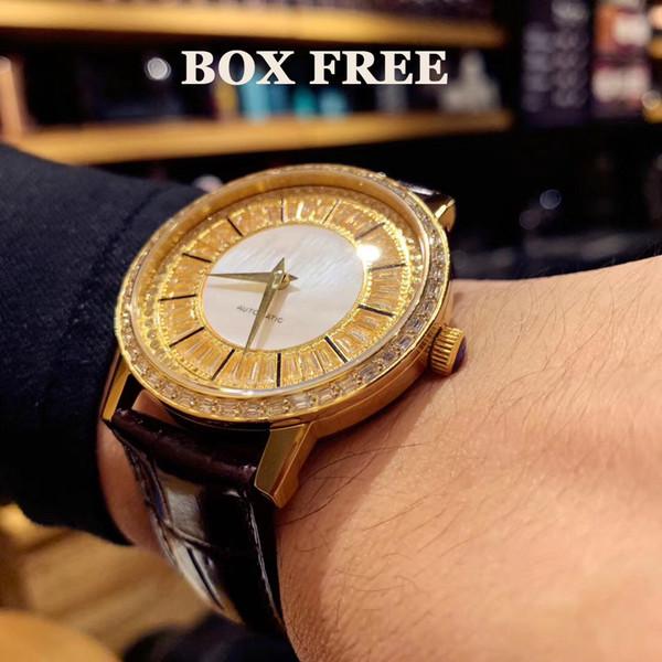 GOA36129 Gold+Diamond Man Watch 42mm Super Luxury Real Leather Brown Strap Sapphire glass 821A Automatic WristWatch Waterproof 50mter