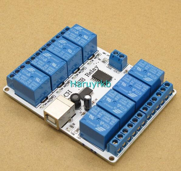 Freeshipping 8 channel 12V dc USB Relay Module Opto-couple 8 SPDT relays For PC computer Robotics