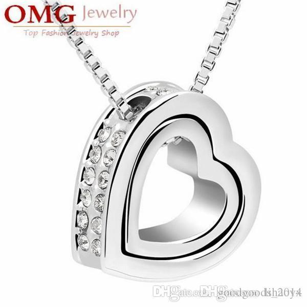 Silver plated double Inlaid rhinestones heart pendant necklace fine fashion alloy jewelry [SKU:A083]