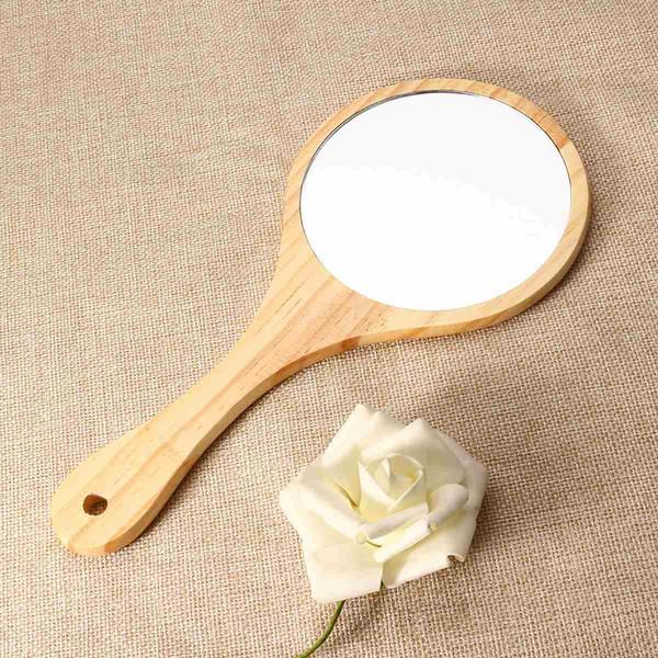 купить оптом новый натуральное дерево зеркало деревянное ручное зеркало винтаж портативный компактный макияж тщеславие ручное зеркало с ручкой для
