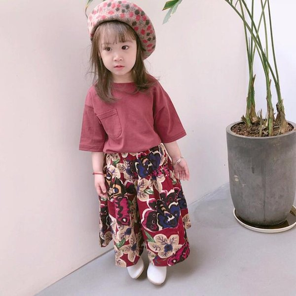 2018 Summer Baby Girls Clothes Set Kids Middle Sleeve Tops T-shirt + Florals Loose Pants 2pcs Girls Outfits Children Set 13874