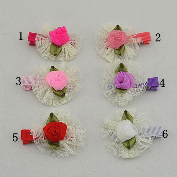 12pcs beautiful lace and satin face rose polygonal flower hairpins of the children hair clips of the baby FJ041