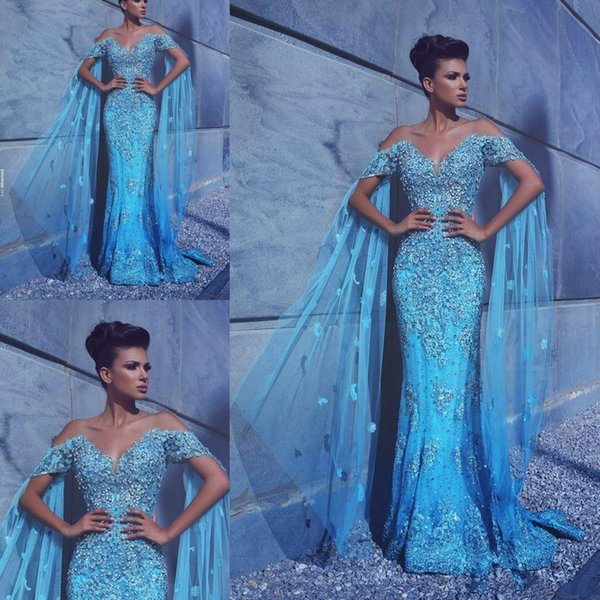 Rhinestones Beaded Evening Pageant Dresses with Chiffon Cape 2018 Off Shoulder Dubai Arabic Mermaid Lace Floral Prom Formal Dress