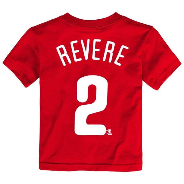 Mens Verão O Pescoço 100% Algodão barato Outerstuff Ben Revere Phillies Jogador Jersey Vermelho T-Shirt Da Criança Da Moda Estilo Dos Homens Tee